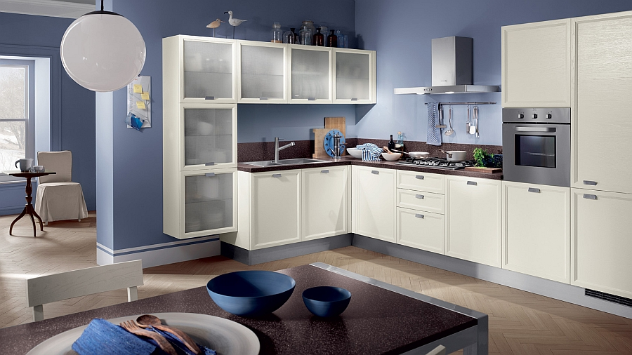 Blue and whit modern kitchen