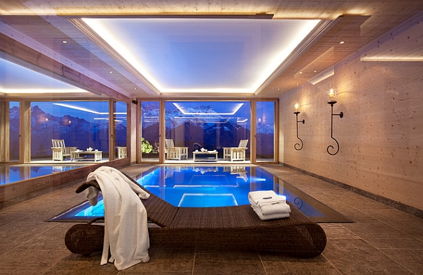 view in gallery breathtaking views of snow clad mountains outside - Cool Indoor Swimming Pools