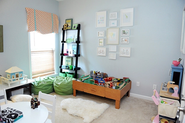 Bright and cheerful playroom in light blue