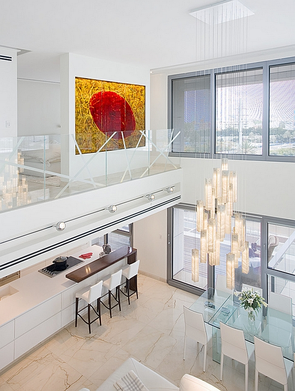 Brilliant light fixture is a feature shared by both the levels