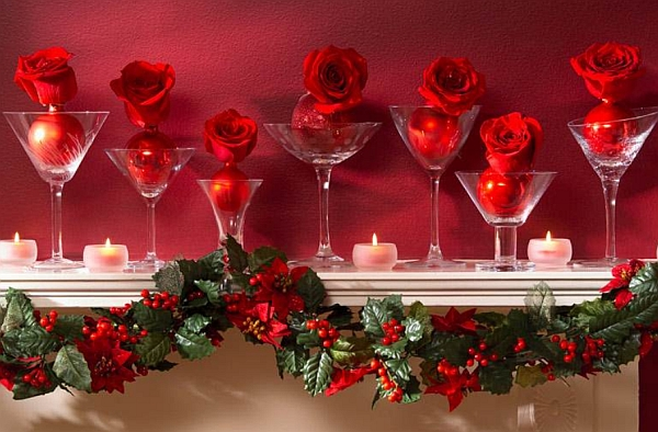 Brilliant red decorating idea for the fireplace mantel