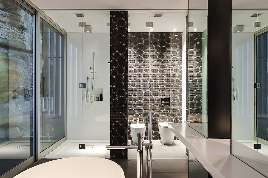 Brilliant shower area and toilet with sliding glass doors