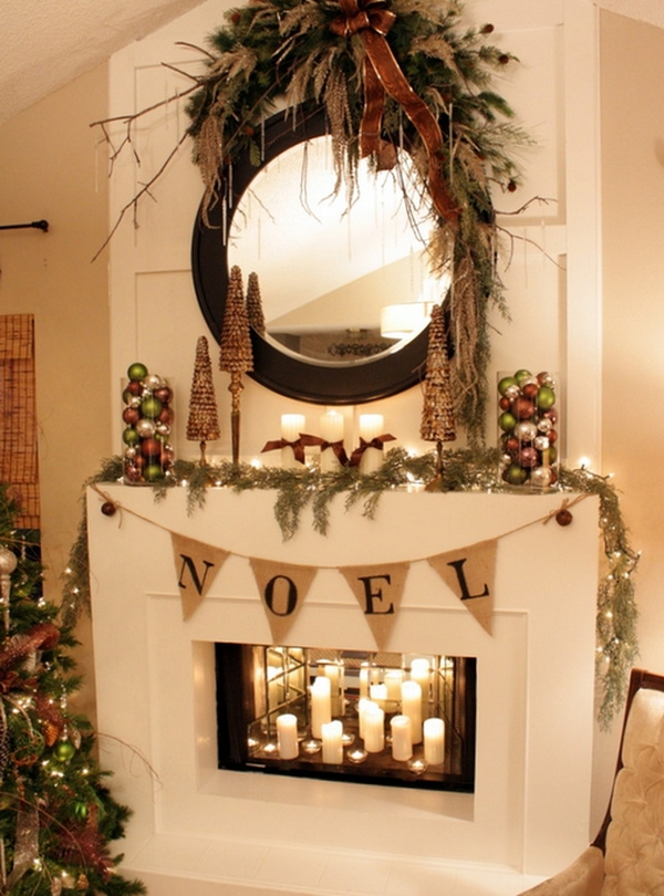 view in gallery candles inside the fireplace make for a gorgeous visual - Country Christmas Mantel Decorating Ideas