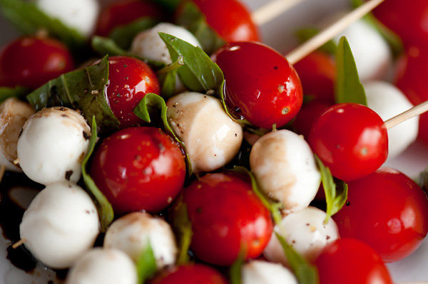Caprese and tomato skewers