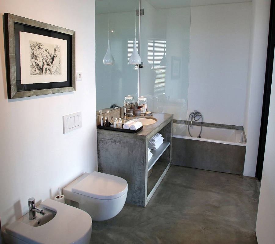 Chic contemporary bathroom exudes a relaxing vibe