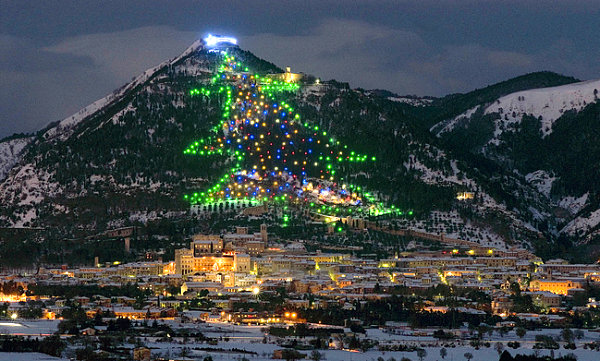 Christmas tree on Monte Ingino, Italy