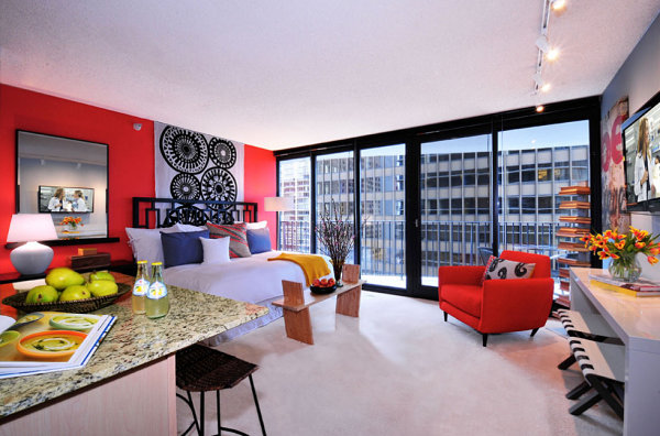 Colorful studio apartment The Design Lovers Guide to Stylish Studio Living