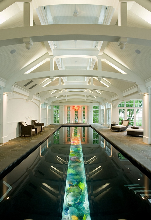 residential indoor lap pool. View In Gallery Colorful Trough Filled With Art Glass At The Bottom Of Pool Residential Indoor Lap F