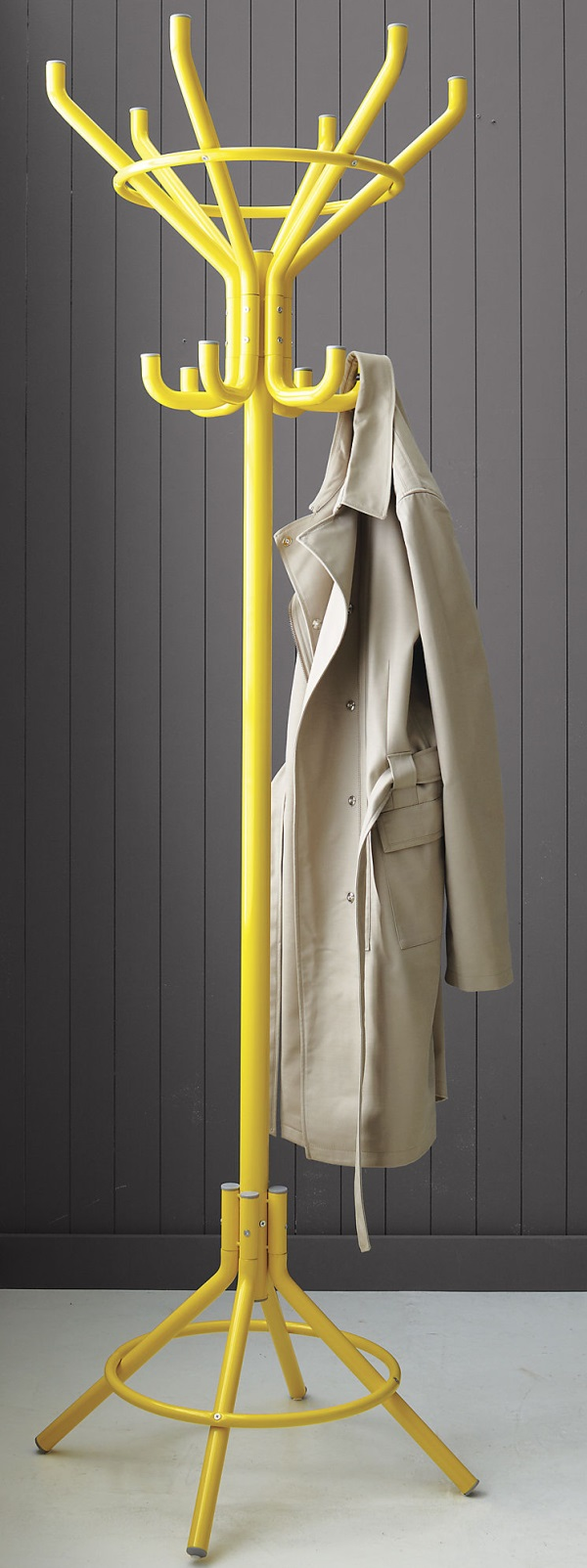 Colorful yellow coat rack