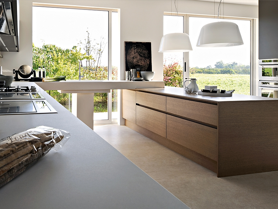 Combination of colors and textures inside modern kitchen