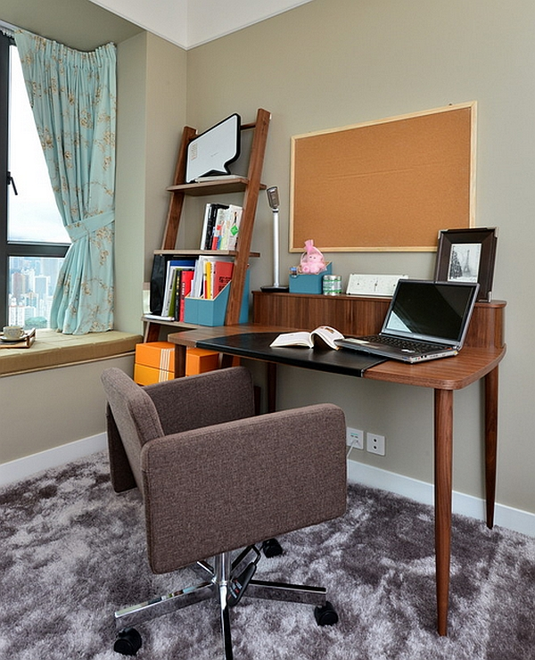 Compact ladder shelves in the home office help save up on space