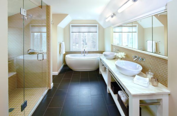Contemporary bathroom with floor tiles that offer a stylish contrast