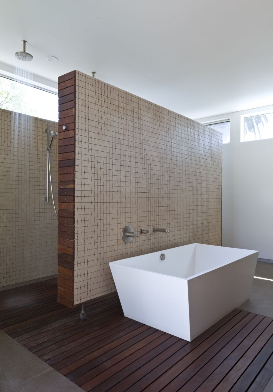 Contemporary bathroom with wooden flooring