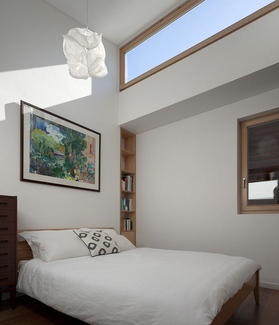 Contemporary bedroom in white with skylights