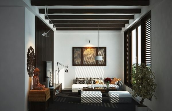 asian living room view in gallery contemporary living room with asian motif