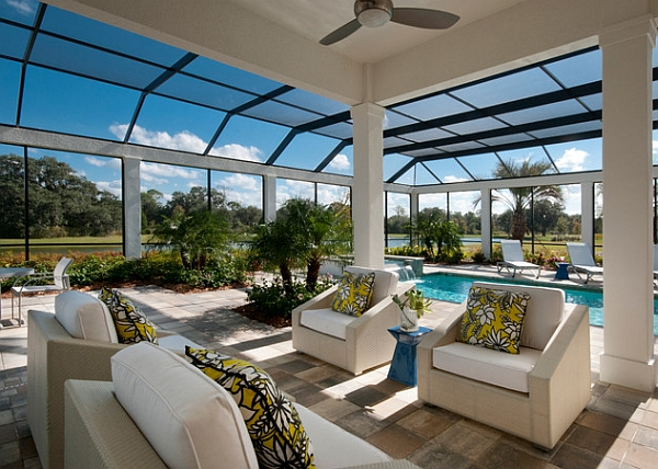 50 indoor swimming pool ideas taking a dip in style for Modern glass porch designs
