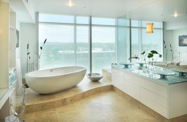Cool contemporary bathroom in Nashville with a view