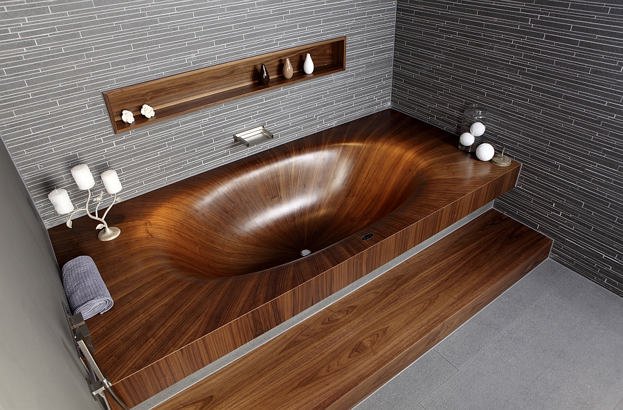 luxurious and dramatic wooden bathtubs make a bold visual. Black Bedroom Furniture Sets. Home Design Ideas