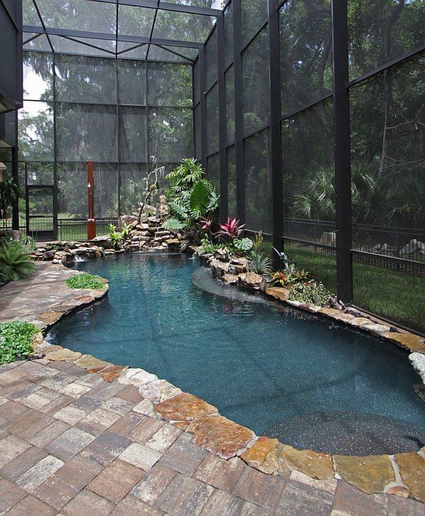 Creative indoor pool mimics an exotic tropical pond