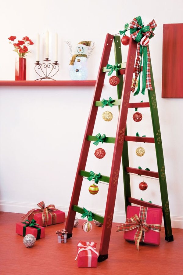 Cristmas themed decorations put the ladder to good use Stepping It Up In Style: 50 Ladder Shelves And Display Ideas