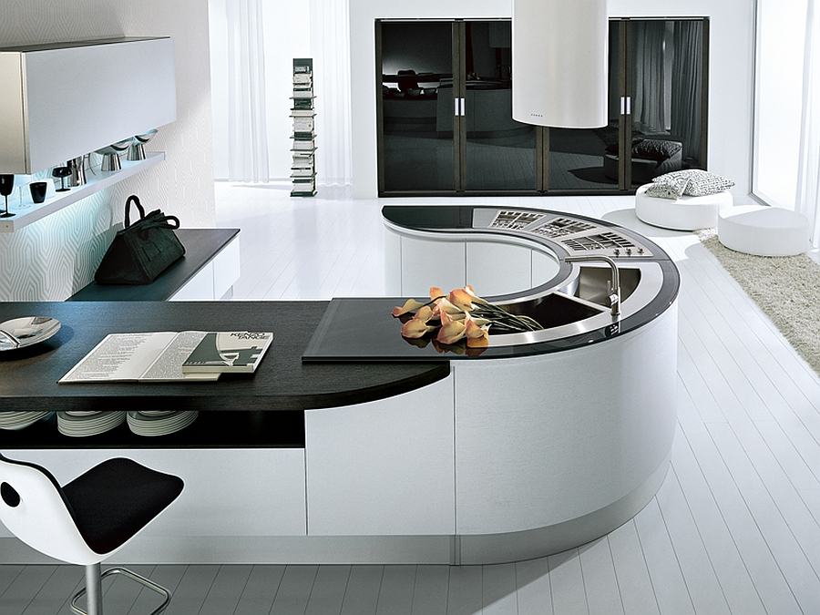 Curved kitchen island idea Trendy Contemporary Kitchen With Sizzling Style And Savvy Storage Space