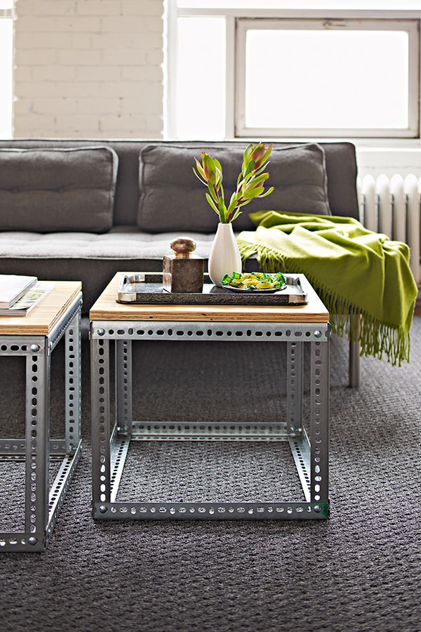 DIY coffee table with plated slotted angles