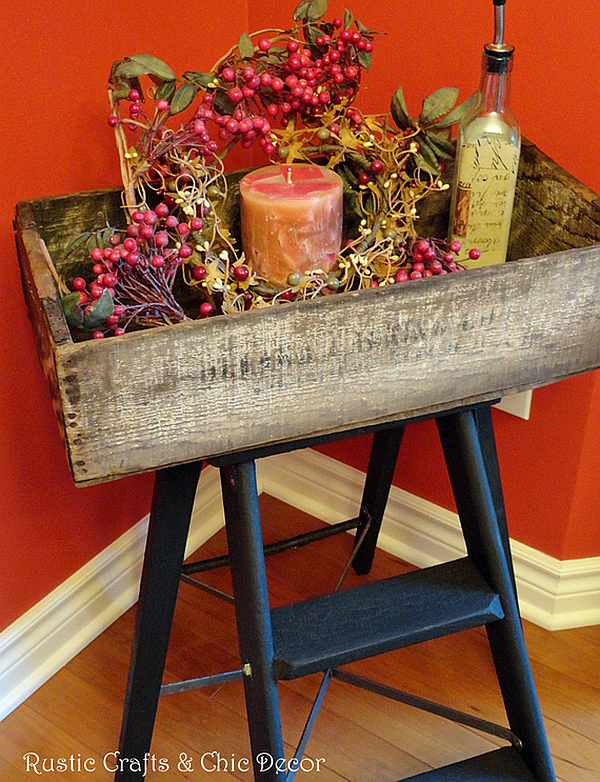 DIY ladder tray table ushers in a rustic look