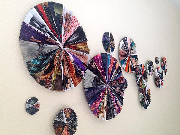 DIY magazine fan wall art