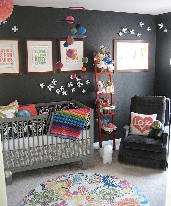 Colorful kids' room with stylish shelving unit
