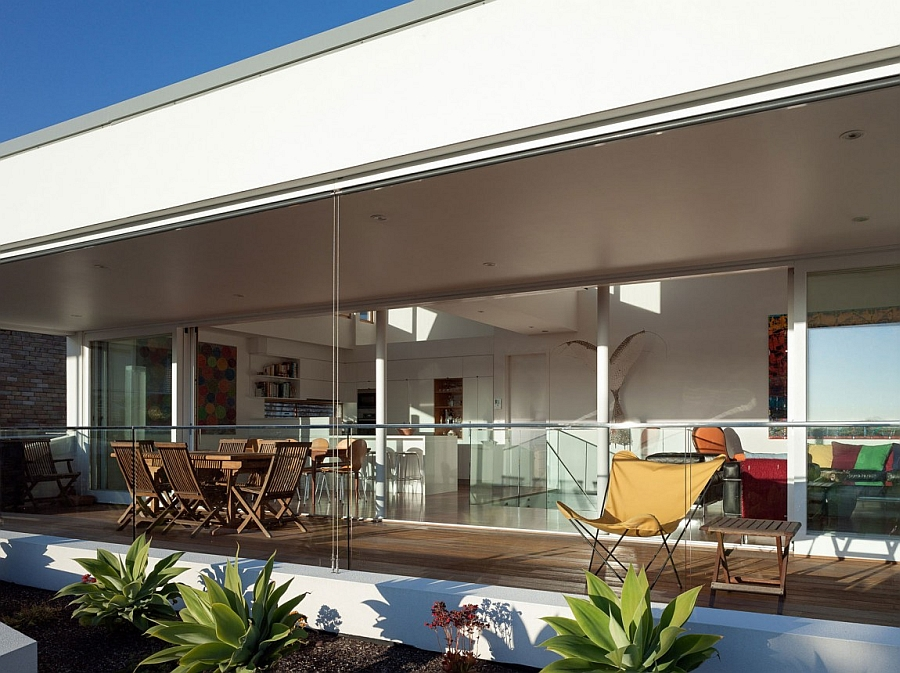 Elegant deck space with bay views and stylish seating space