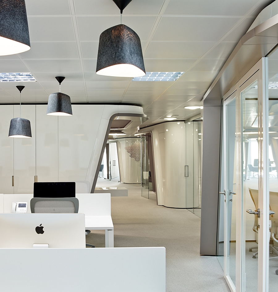 Elegant interior of contemporary office in white