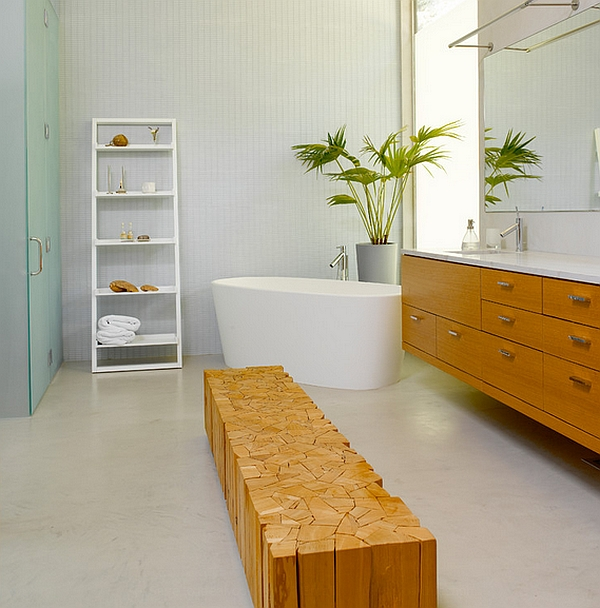 Elegant ladder shelves are a popular addition to the contemporary bathroom