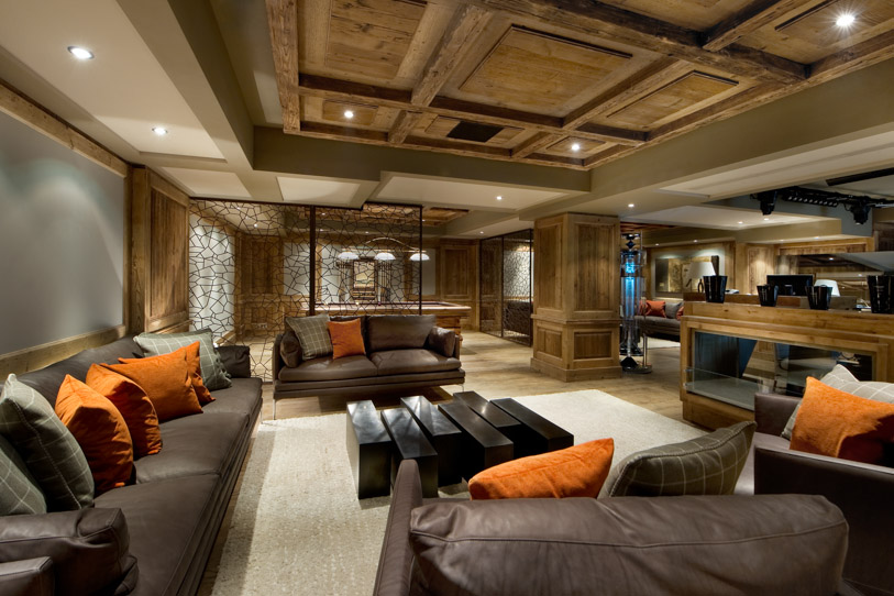 Elegant seating space inside Chalet Edelweiss