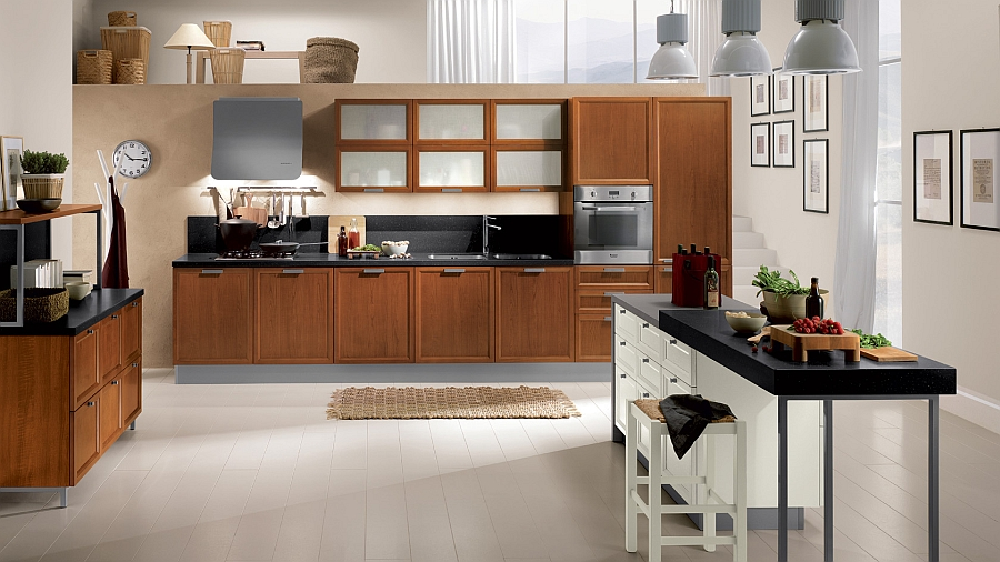 Ergonomic modern kitchen with plenty of shelf space