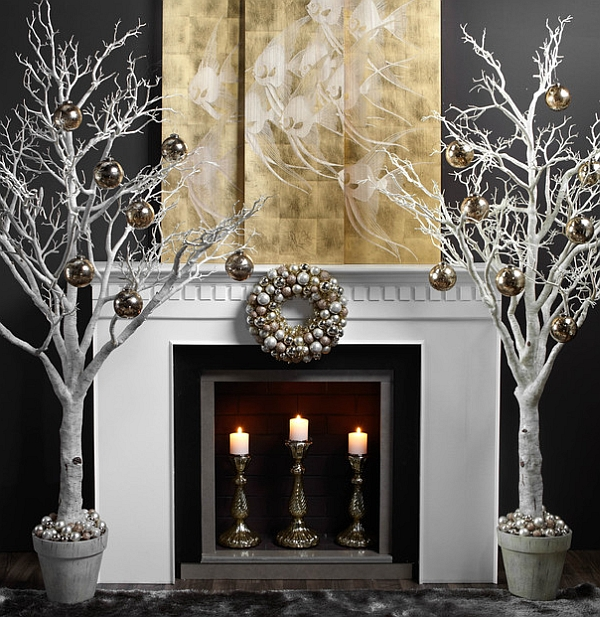 Exquisite and minimalist Christmas hearth idea in white and gold
