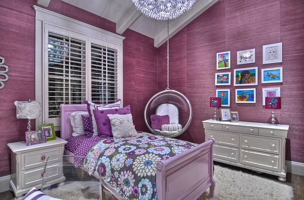 Exquisite kids' bedroom in purple