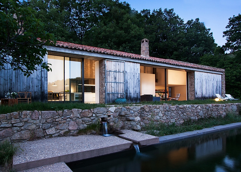 Facade of the rusyic renovated Spanish home Rustic Spanish Stable Renovated Into A Sustainable Modern Home