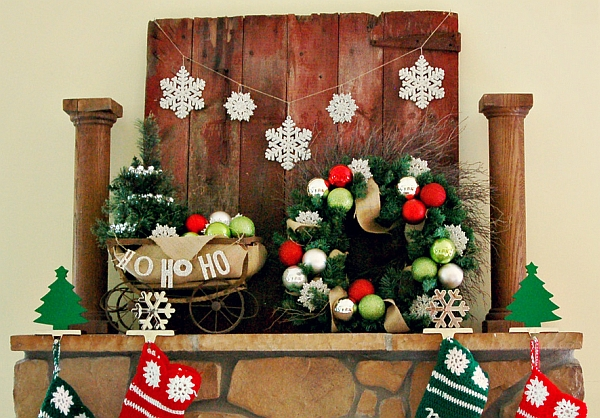 Festive sleigh above the fireplace