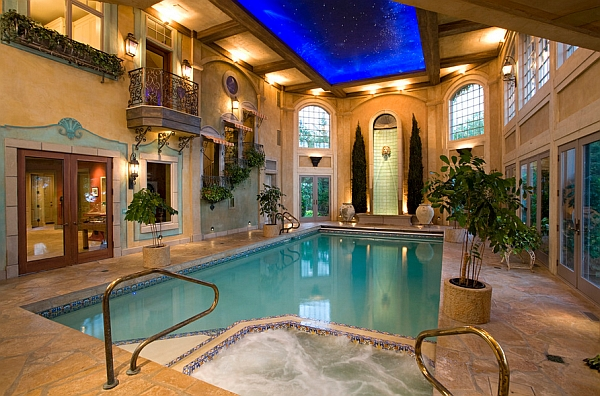 50 indoor swimming pool ideas taking a dip in style for Mansion plans with indoor pool