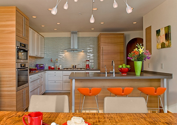 View in gallery Fjord high bar stool in cool colorful orange & 10 Trendy Bar And Counter Stools To Complete Your Modern Kitchen islam-shia.org