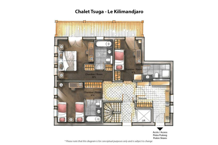 Floor plan of luxurious French Chalet
