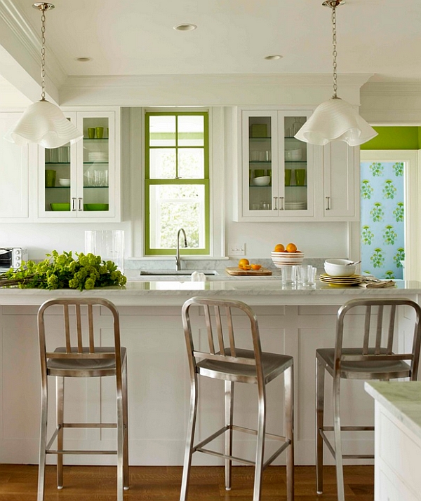 Combining the chair and the bar stool form of the Emeco Navy View in gallery Fresh accents of green in the kitchen : navy chair bar stool - islam-shia.org