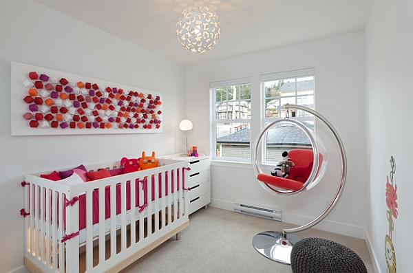 Fun, modern kids' room with hanging Bubble Chair