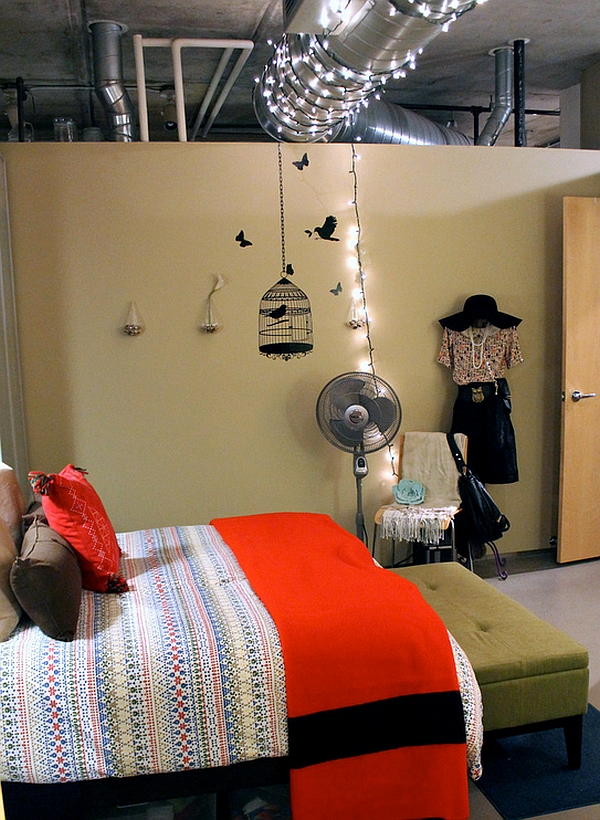 Fun use of string lights in the industrial bedroom