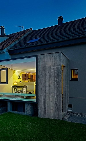 Glass cube home extension in St. Louis, Eastern France