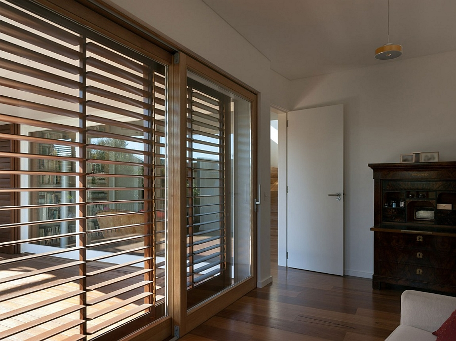 Glass doors and wooden blinds ideas
