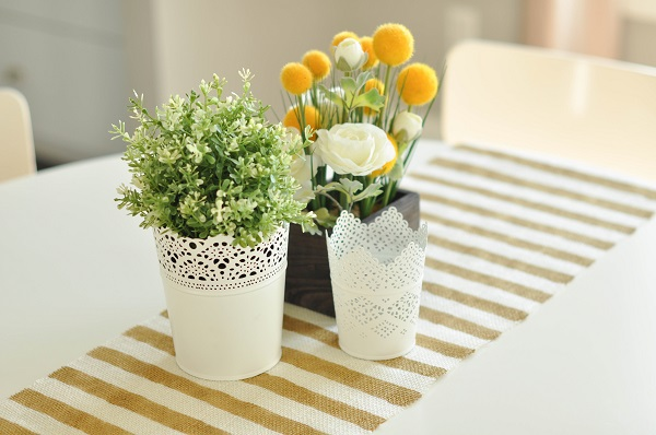 Gold and white striped table runner