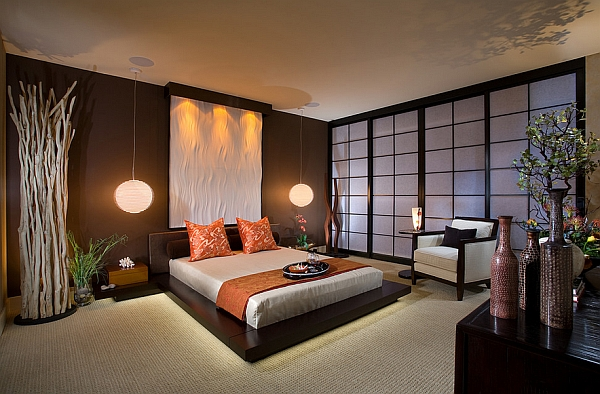 Gorgeous Asian theme bedroom with contemporary style