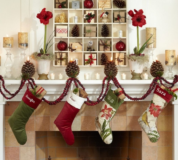 Gorgeous decorations above the fireplace mantel