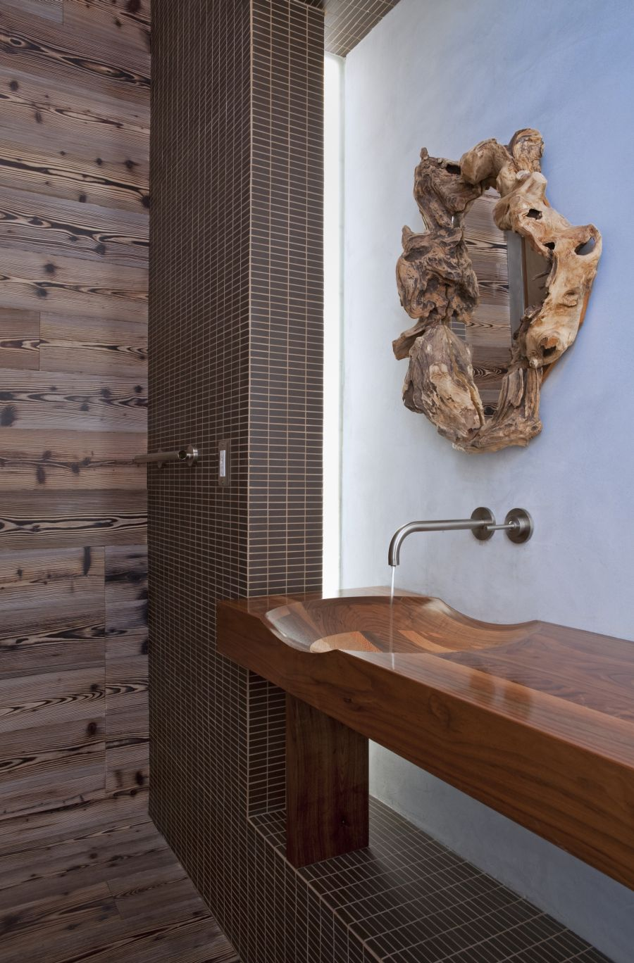 Gorgeous floating vanity in timber